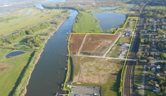 Port of Ridgefield aerial with outline