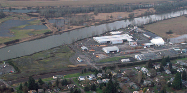 Older Port of Ridgefield aerial with lumber mill