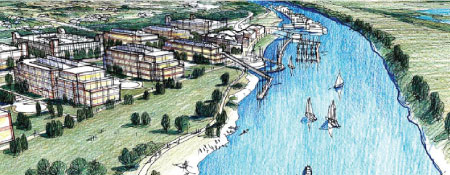 Miller's Waterfront with boats rendering